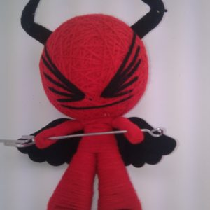 VOODOO DOLL RED DEVIL WITH FORK AND BLACK HORNS BLACK WINGS BIG EYES