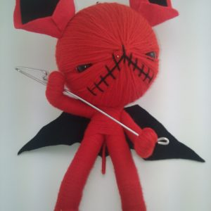 VOODOO DOLL RED DEVIL WITH FORK AND BLACK EARS BLACK WINGS SMALL EYES