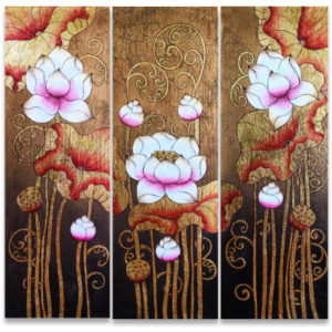 Bangkok Painting Famous Flower Painting Ancient Golden Thai Lotus