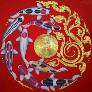 Bangkok Painting Famous Koi Fish Painting
