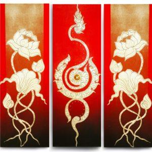 Bangkok Painting Flower Art Traditional Thai Golden Lotus