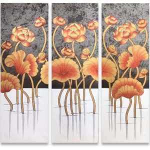 Bangkok Painting Flower Painting Beautiful Nightly Golden Thai Lotus