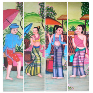 Bangkok Painting Folk Lanna Thai Art
