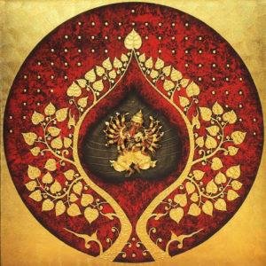 Bangkok Painting Ganesha Painting Elephant God and Bodhi Tree Wall Art