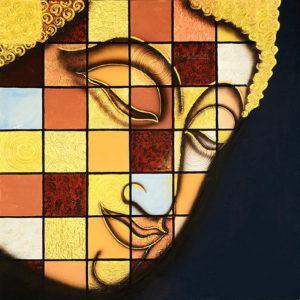 Bangkok Painting Half Face Buddha Canvas Painting