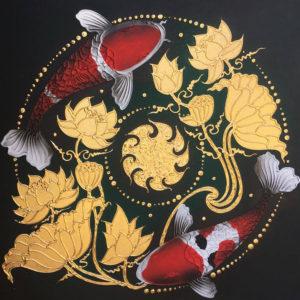 Bangkok Painting Koi Fish Painting Golden Lotus