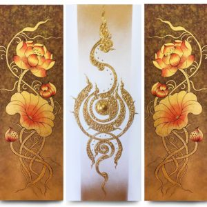 Bangkok Painting Lotus Flower Abstract Art Traditional Thai Painting