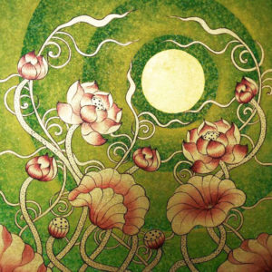 Bangkok Painting Lotus Flower Design Thai Golden Moon