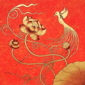 Bangkok Painting Lotus Wall Art And Golden Bird