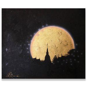 Bangkok Painting Moon Painting Ancient Thai Pagoda