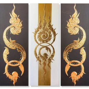 Bangkok Painting Multi Panel Canvas Art Ancient Golden Pattern