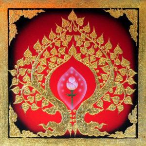 Bangkok Painting Oriental Art Painting Pink Lotus in Buddha Bodhi Tree