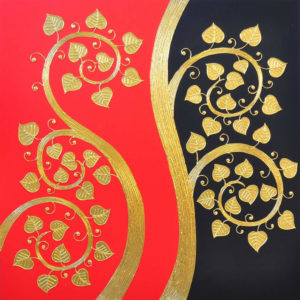 Bangkok Painting Oriental Artwork Lively Bodhi Leaf Branch