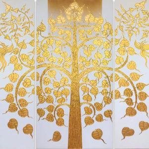Bangkok Painting Oriental Painting Golden Bodhi Tree