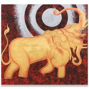 Bangkok Painting Painting Elephant Erawan and Silver Moon