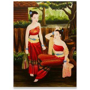 Bangkok Painting Woman Art Painting Ancient Thai