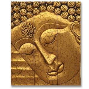 Bangkok Painting Wooden Buddha Face Wall Art