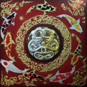 Bangkok Painting Yin Yang Dragon Koi Fish Art Painting