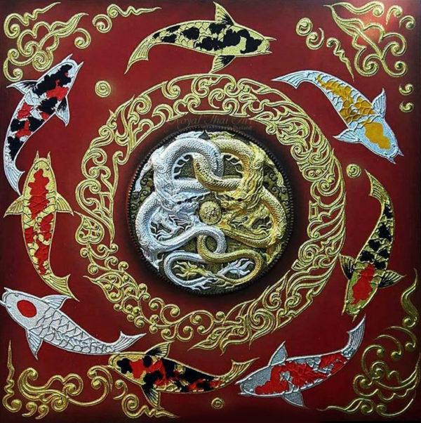 Bangkok Painting Yin Yang Dragon Koi Fish Art Painting
