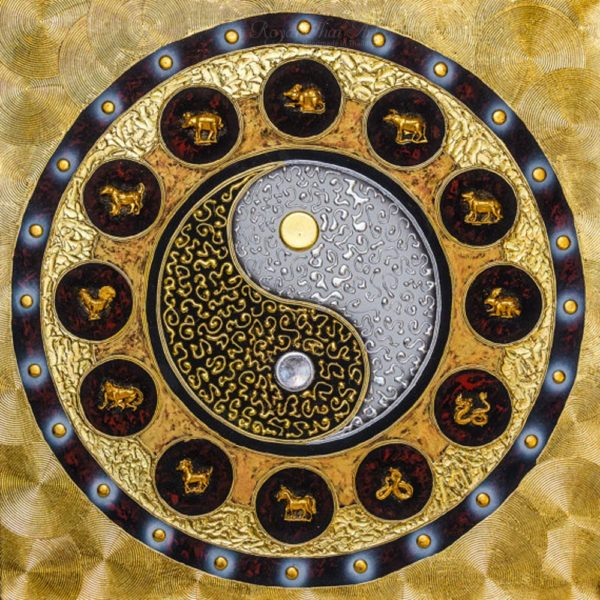 Bangkok Painting Yin Yang Symbol Zodiac Mandala Abstract Painting