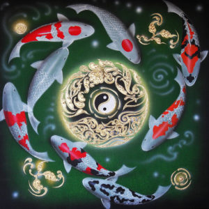 Bangkok Painting Yin and Yang Japanese Koi Carp Painting