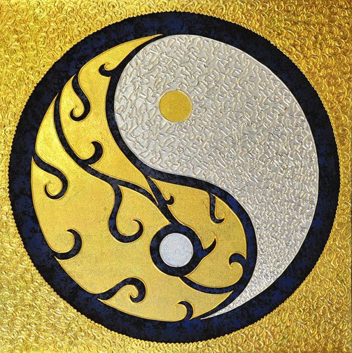 Bangkok Painting Yin and Yang Symbol Original Abstract Art